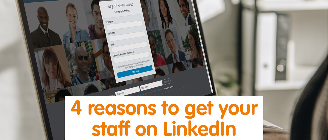 Computer screen with LinkedIn webpage